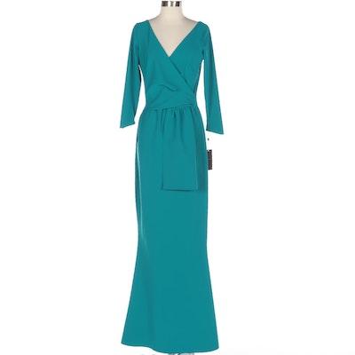 Chiara Boni Jaynette Full-Length Mermaid Dress in Peacock Blue Stretch Knit