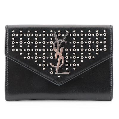 Saint Laurent Studded Flap Front Wallet in Black Leather