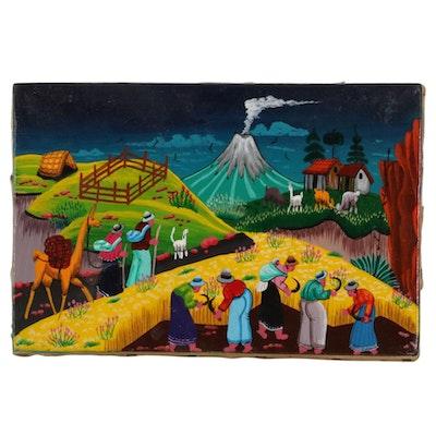 South American Folk Art Acrylic Painting on Hide of Mountainside Farm Village
