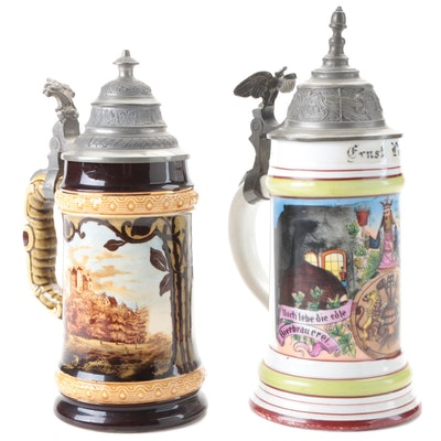 German Brewers Porcelain Beer Stein with Other Stoneware Beer Stein