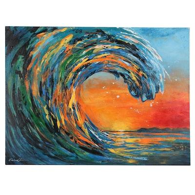 "Farshad Lanjani Acrylic Painting ""The Big Wave"""