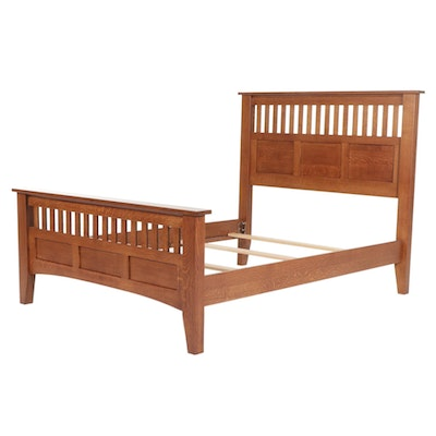 Arts and Crafts Style Oak Full Size Bed Frame