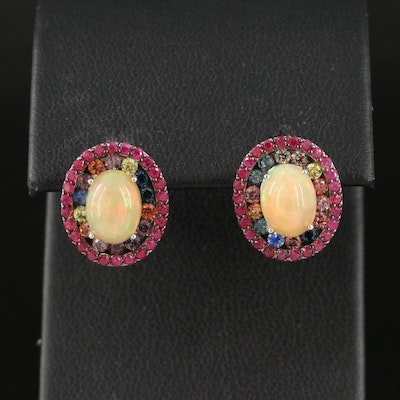Sterling Opal, Sapphire and Ruby Double Halo Earrings