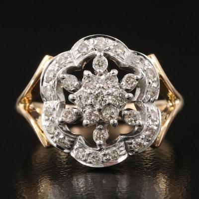 14K 0.51 CTW Diamond Openwork Ring with Split Shoulders