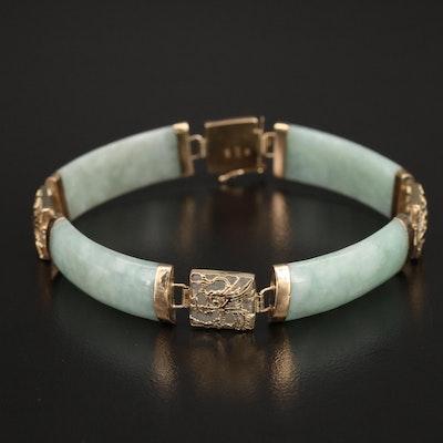 14K Jadeite Bracelet with Dragon Motif