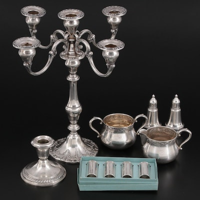 """Gorham """"Chantilly-Duchess"""" Candelabra with Other Sterling Table Accessories"""