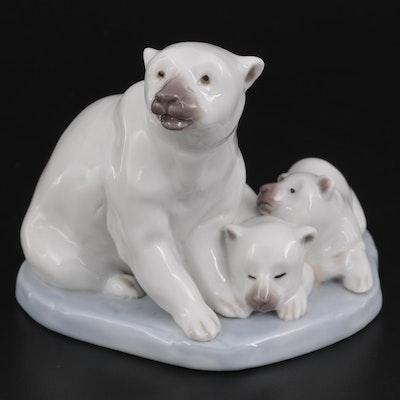 "Lladró ""Polar Bear Miniature"" Porcelain Figurine Designed by Antonio Ramos"