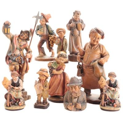 Heinzeller and Other German Folk Art Carved Wooden Polychrome Figurines