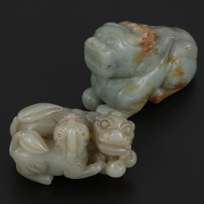 Chinese Carved Nephrite Guardian Lion Figurines