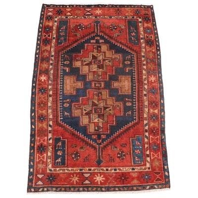 4'2 x 7' Hand-Knotted Persian Zanjan Area Rug