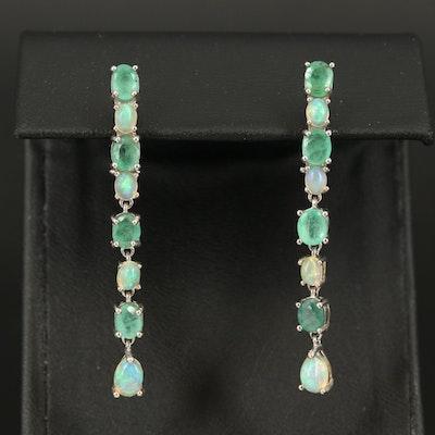 Sterling Emerald and Opal Earrings