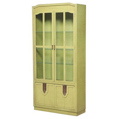 Fancher Furniture Co. Green Crackle-Painted Bookcase, Mid to Late 20th Century