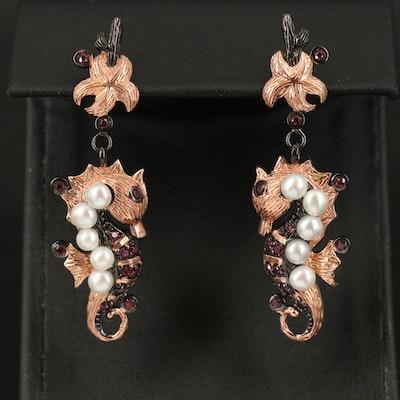 Sterling Pearl and Rhodolite Garnet Seahorse Earrings