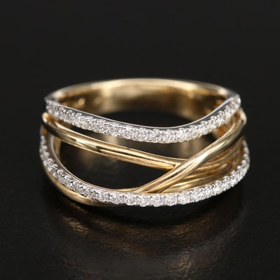 14K 0.40 CTW Diamond Crossover Ring