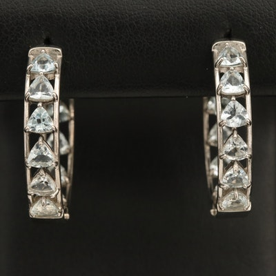 Sterling Aquamarine Inside-Out Hoop Earrings