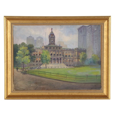"""Architectural Landscape Oil Painting """"City Hall,"""" Circa 1930"""