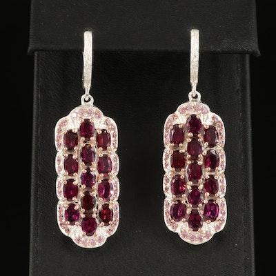 Sterling Rhodolite Garnet and Cubic Zirconia Earrings