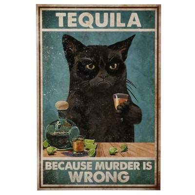 Giclée Poster of Black Cat Drinking Tequila, 21st Century