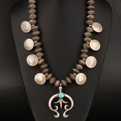 Squash Blossom Necklace with Benchmade Coin Beads and Sandcast Naja