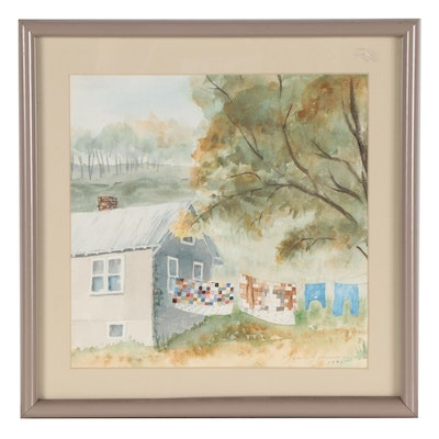 """Jean Johnson Watercolor Painting """"Wisconsin Quilts,"""" 1990"""