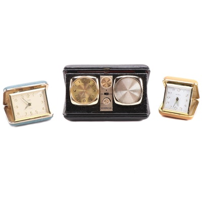 Kensington Travel Radio and Alarm Clock with Elgin and Seth Thomas Travel Clocks