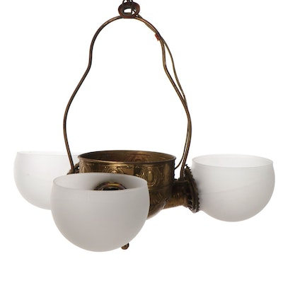 Angle Lamp Company Brass Three-Light Fixture with Satin Glass Globes, Converted