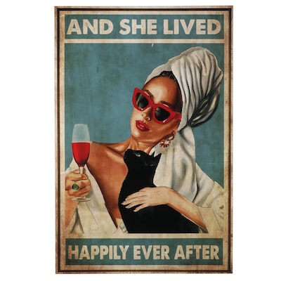 Giclée Poster of Cat-Lover Drinking Wine, 21st Century