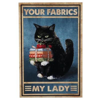 Giclée Poster of Black Cat Holding Fabric, 21st Century