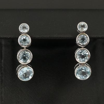 Sterling Graduated Sky Blue Topaz Earrings