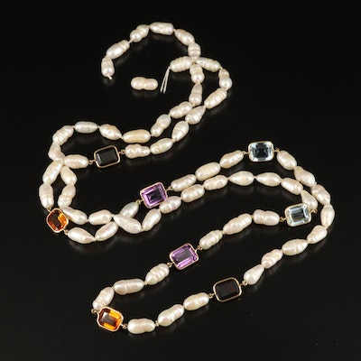 14K Topaz, Amethyst, Pearl and Gemstone Necklace
