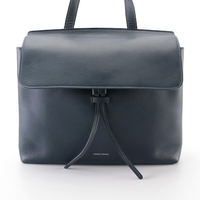 Mansur Gavriel Sun Tote in Navy Leather with Detachable Strap