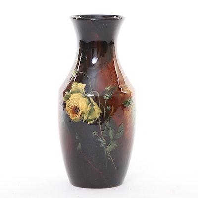 Weller Pottery Louwelsa Glazed Yellow Rose Pottery Vase, Early 20th Century