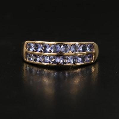 10K Tanzanite Double Row Ring