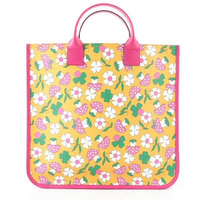 Gucci Children's Floral and Mushroom Print Tote Bag in Multicolor Coated Canvas