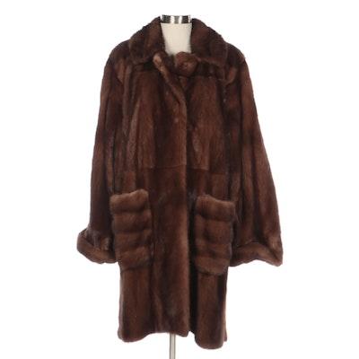Demi Buff Mink Fur Stroller Coat with Wide Sleeves, Notch Collar