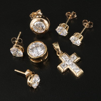 14K Cubic Zirconia Earrings and Pendants Including Sterling