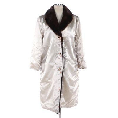 Hiverreine Nylon Twill, Rabbit and Mink Fur Coat Liner with Notched Collar