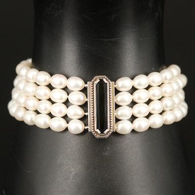 "Tiffany & Co. ""Zigfield"" Sterling Black Onyx and Pearl Multi-Strand Bracelet"