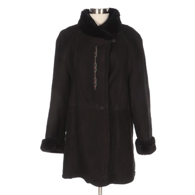 Ardney Raglan Sleeve Black Shearling Jacket with Embroidery
