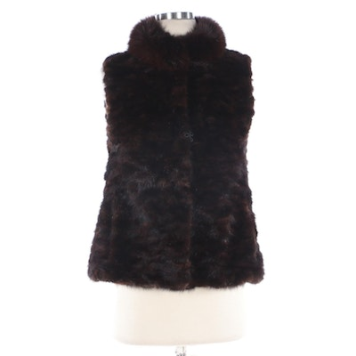 Pieced Mink Fur Vest with Fox Fur Collar from Jenny Kim Couture