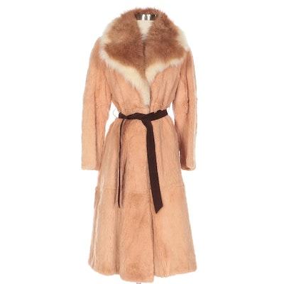 Sheared Guanaco Fur Belted Coat with Guanaco Fur Notch Collar