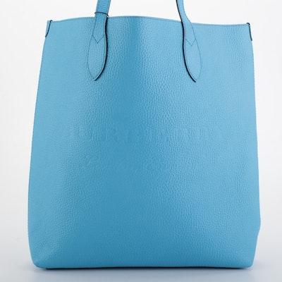 Burberry Remington Blue Grained Leather Tote Bag