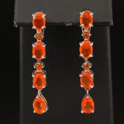 Sterling Fire Opal Earrings