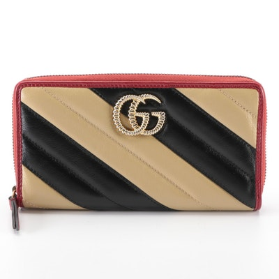 Gucci GG Marmont Zip Around Wallet in Tan, Black and Red Matelassé Leather