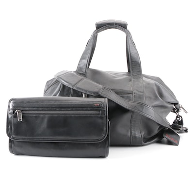 Tumi Leather Weekender Bag and Toiletry Case
