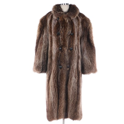 Men's Raccoon Fur Double-Breasted Full-Length Coat