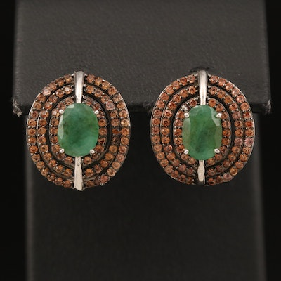 Sterling Emerald and Sapphire Earrings
