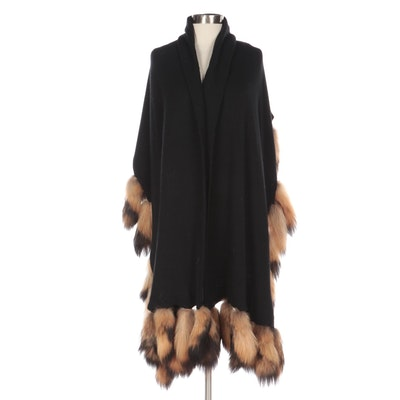 Black Wool Blend Shawl with Tanuki Fur Tails