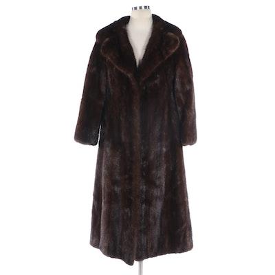 Dark Brown Mink Fur Coat with Wide Notched Collar