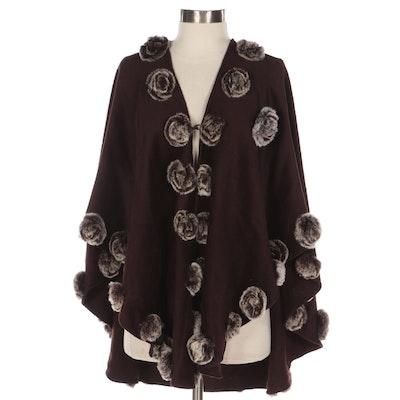 Dark Brown Cashmere Poncho with Rabbit Fur Rosettes